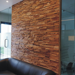Reclaimed wood wall cladding Som applied to an office wall.