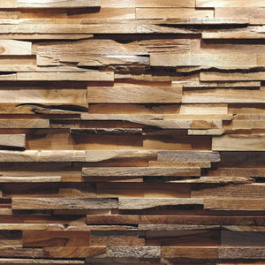 A closeup of reclaimed wood wall panel Som