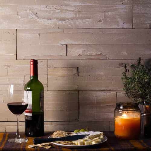 self adhesive wooden wall panels in the Safari finished used as a backdrop in a cosy dining room.