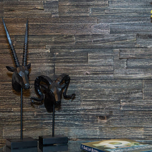 Dark wood self adhesive panelling within a home