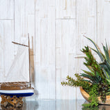 White wood feature wall within a coastal style interior