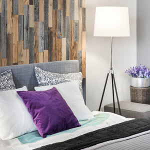 Wood wall panels used within a bedroom