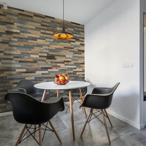 Wooden wall panels used within a kitchen diner