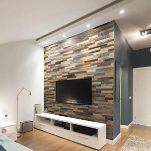 Wooden wall panels used as a feature wall behind a TV unit