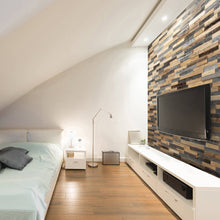 Load image into Gallery viewer, An apartment featuring wood wall panelling and a TV mounted to it