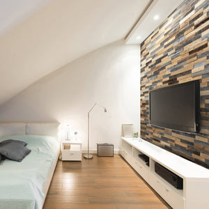 An apartment featuring wood wall panelling and a TV mounted to it