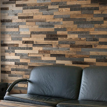 Load image into Gallery viewer, Mixed wood wall panels in a reception