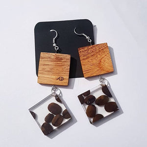 Earings Resin and Wood