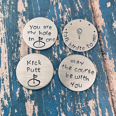 Hand Stamped Stainless Steel Ball Marker Gift