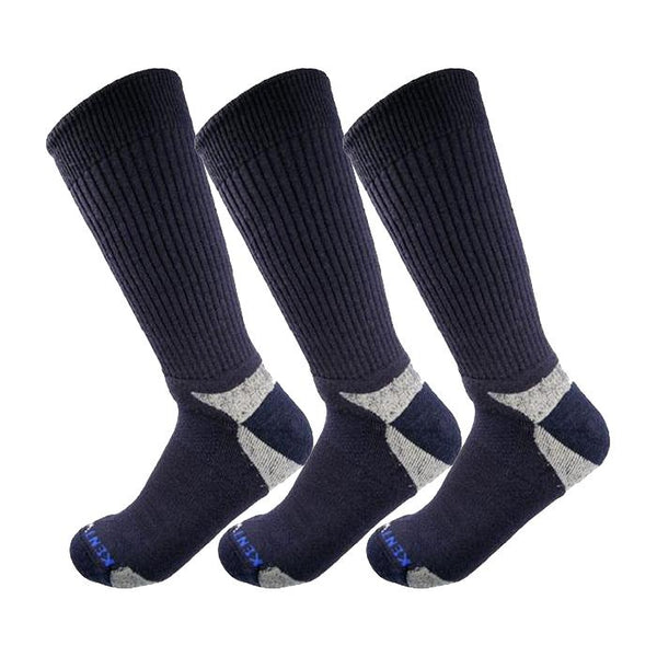 Bundle Set KentWool Mens Tour Standard Golf Socks (Navy/3-pack)