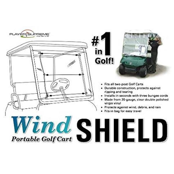 Portable Golf Cart Windshield 20 Gauge Clear PVC (Assembles and Removes in Seconds!)