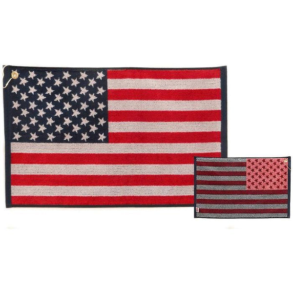 "USA American Flag Stars and Stripes Jacquard Golf Towel 16"" x 24"""