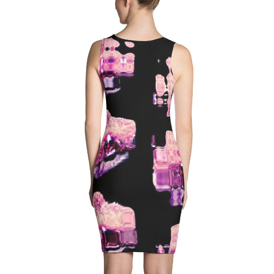 Dentata | Glitch Art | Alien Orchid Bodycon Sublimation Cut & Sew Dress