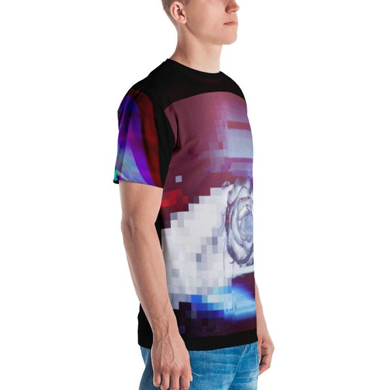 Quantum Entanglement Abstract Glitch Synthwave Men's T-shirt