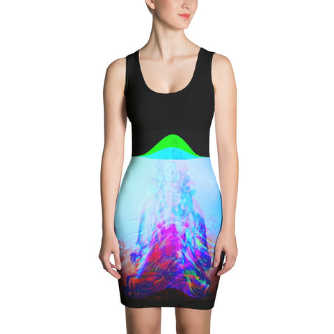 Synthwave Glitch Buddha -Eve of Revolutions | Glitch Art | Vaporwave | RGB Sublimation Cut & Sew Dress