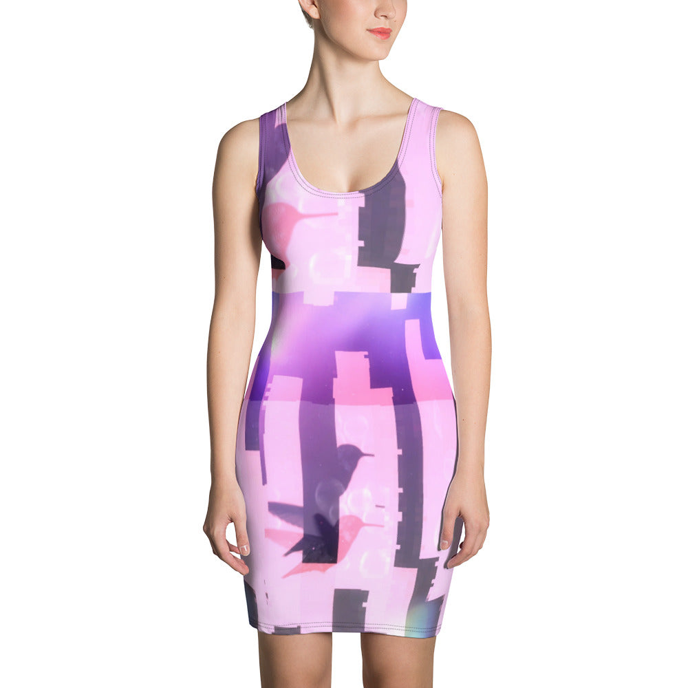 Hummingbird City Glitch Sublimation Cut & Sew Dress