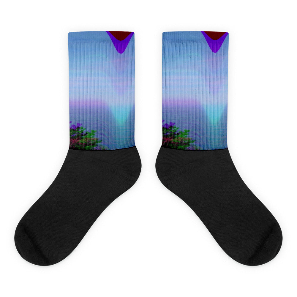 Dreamwave Coast Glitch Synthwave Neon Periwinkle Magenta Black Foot Sublimated Socks