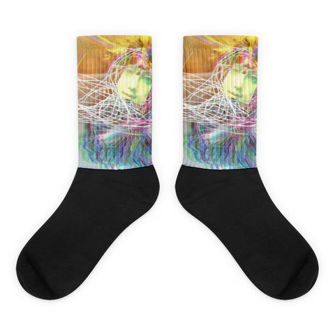 Magic Life Glitch Art Vaporwave Lucid Dream Psychedelic Mixed Media Socks