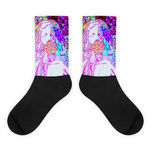 Atomic Mary Violet Flame Acid Psychedelic Glitch Socks