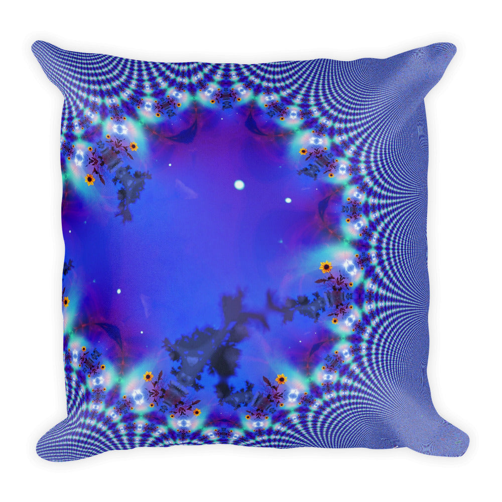 Molecules Blue Sunflowers Psychedelic Trippy Ecstatic Glitch Abstract All-Over Print Premium Pillow Case w/ stuffing