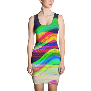 TechNoirCandy Gliding Thru a Black hole Synthwave Glitch Bodycon Cut & Sew Dress