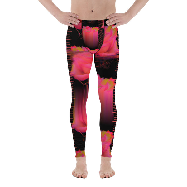 Neuromantic Coral Synthwave Roses Men's Leggings