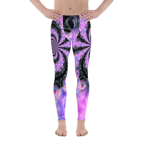 Cosmic Caterpillars - Glitch - Yoga Punk - Vaporwave- Purple Rainbow - Psychedelic - Synthwave - Burning Man - Men's Leggings