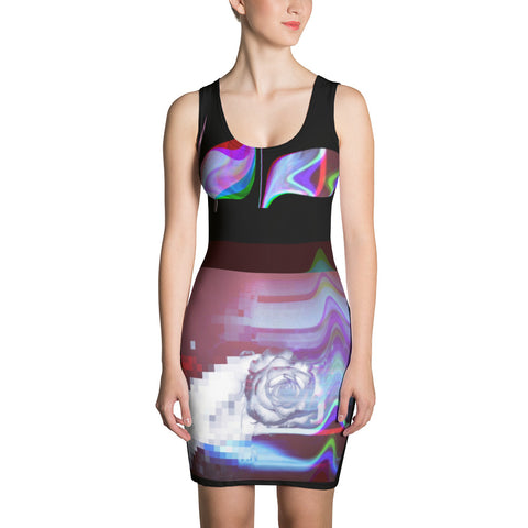 Quantum Love Glitch Pixel Rose Sublimation Cut & Sew Dress