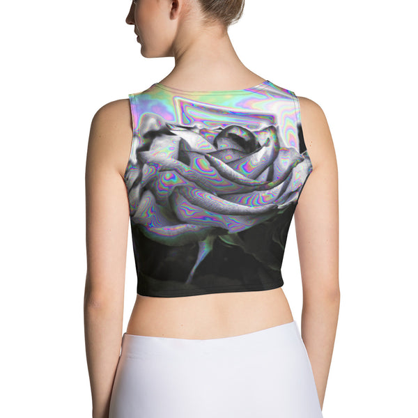 Noir & Boujee Aesthetic Glitch Rose Sublimation Cut & Sew Crop Top