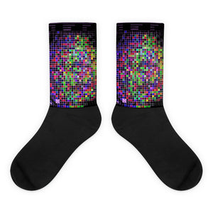 Pixelated Life as a  Video Game Synchronicities Pixelation Neon Glitch Fun Socks