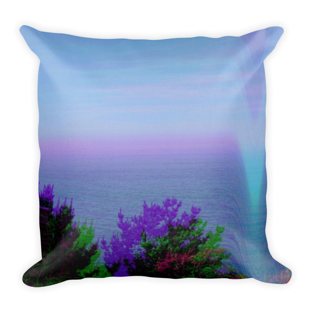 Synthwave Dream Coast Waves Glitch All-Over Print Premium Pillow Case w/ stuffing