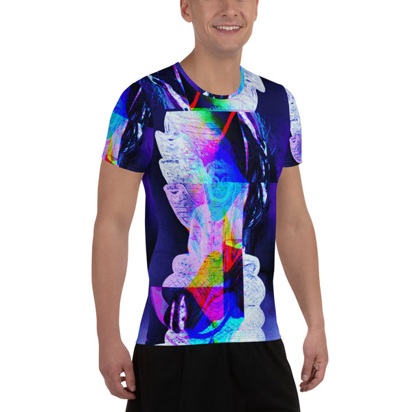 Mucalinda Nāga Glitch Buddha All-Over Print Men's Athletic T-shirt