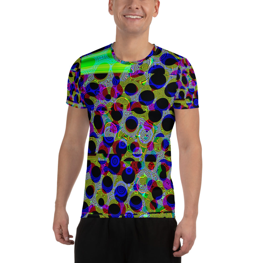 Dancing DNA - Cyberpunk - Abstract - Pop Art - Gene Editing Sequence - Glitch - Athleisure - Futurism All-Over Print Men's Athletic T-shirt