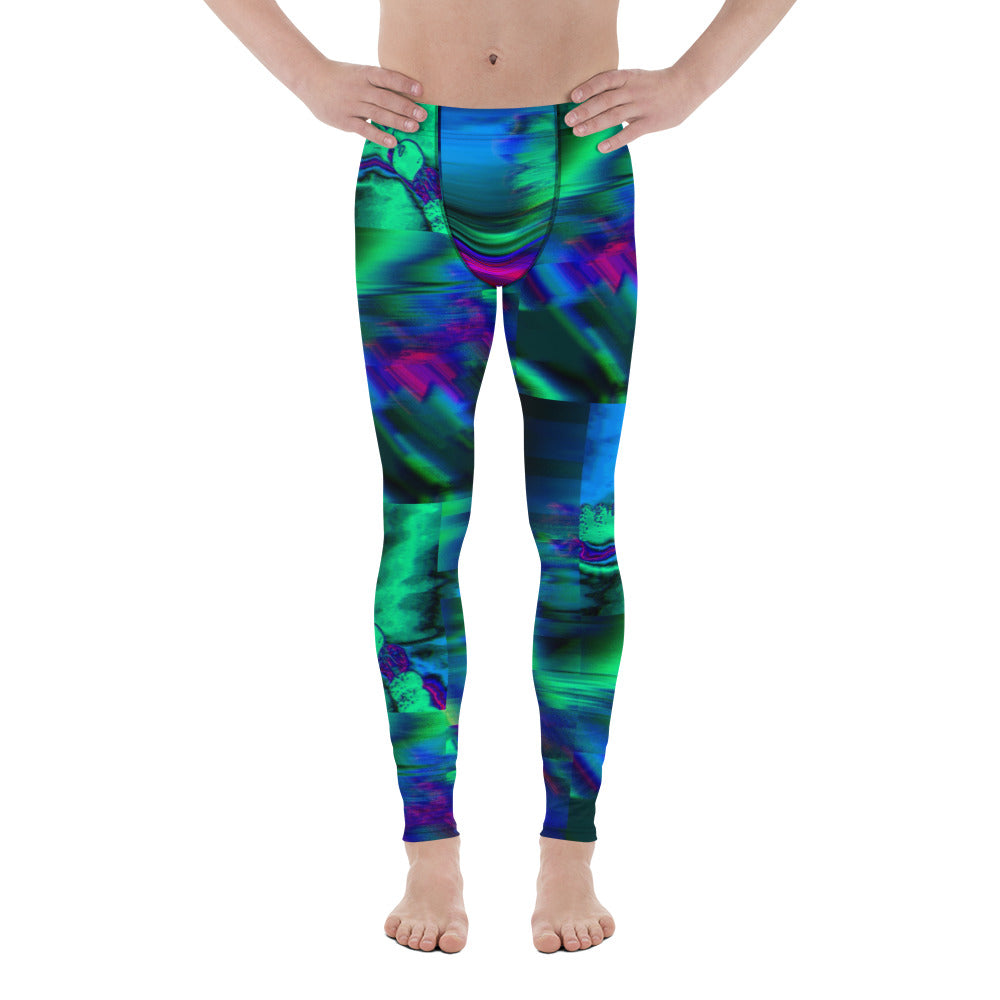 Northern Lights - Glitch - Cosmos - Yoga - Burning Man - Festival - Cycling Men's Handmade Leggings