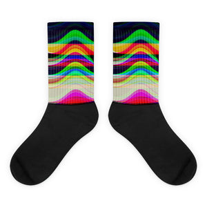 Gliding through a Blackhole Glitch Synthwave Quantum Physics Socks