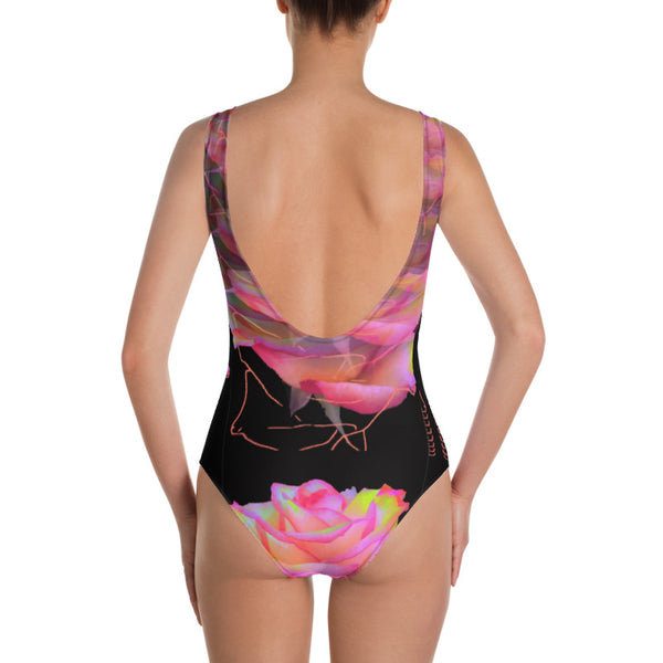 Cybernetic Nightwave Rose One-Piece Swimsuit