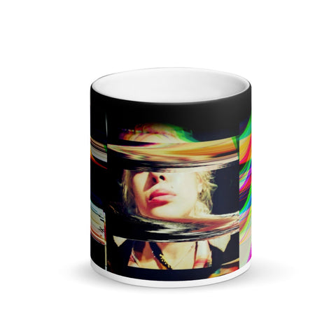 Rainbow Cyberpunk Girl-Morphing Mug  Black Hole  - Glitch  Vaporwave Pop Art -Matte Black Magic M