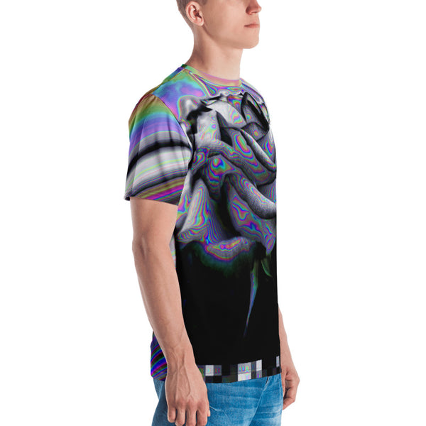 Noir and Boujee Rose Vaporwave Glitch Abstract Men's T-shirt
