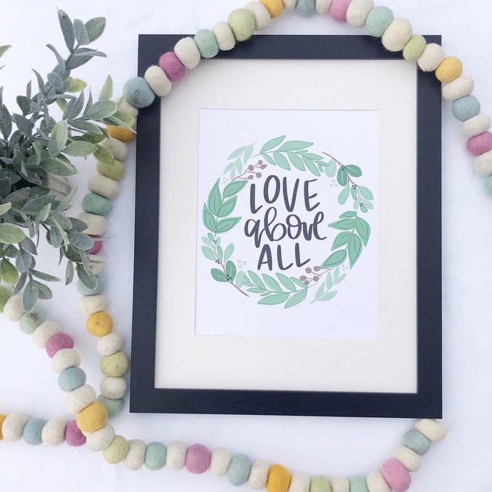 Love Above All Wreath Art Print
