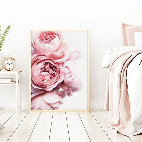 Pink_Peonies_Canvas_Print_bedroom_setting