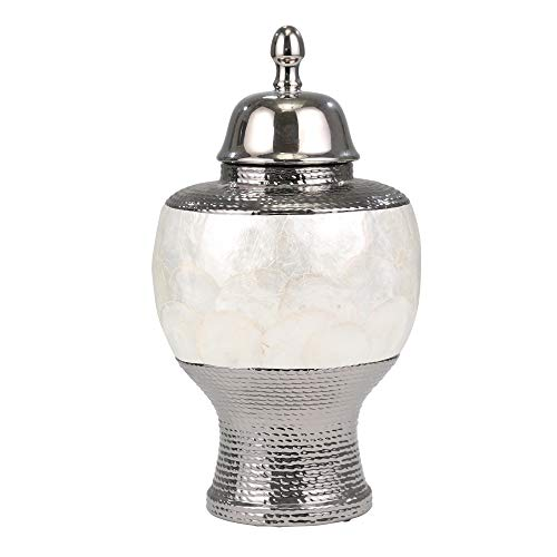 Sagebrook Home 11350 Ceramic Pearl Rotund Covered Jar, Silver/White Ceramic, 8.75 x 8.75 x 16 Inches - Einhorn Homewares