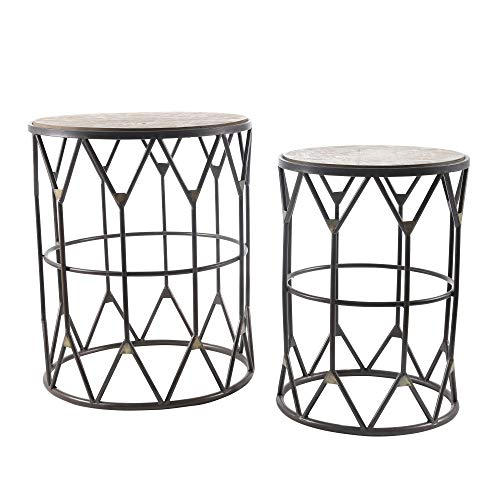Sagebrook Home Metal Accent Tables, Bronze Metal, 18 x 18 x 21.75 Inches (Set of 2) - Einhorn Homewares