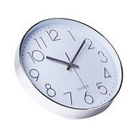 "Modern 12"" Battery Operated Non-Ticking Sweep Movement Wall Clock - Einhorn Homewares"