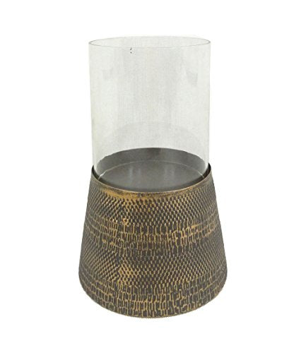 Sagebrook Home 11703 Metal & Glass Candle Holder, Antique Gold Metal, 8 x 8 x 5.75 Inches - Einhorn Homewares