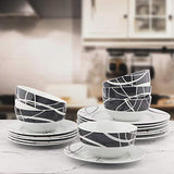 18-Piece Kitchen Dinnerware Set, Plates, Dishes, Bowls, Service for 6 - Einhorn Homewares