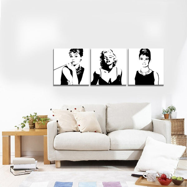 Marilyn Monroe and Audrey Hepburn Black & White Wall Prints - Einhorn Homewares