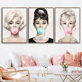 Audrey, Brigitte, Marilyn Bubble Gum Wall Art - Einhorn Homewares