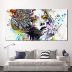 Girl With Flowers Canvas Wall Print - Einhorn Homewares