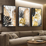 Golden Leaf Canvas Wall Prints - Einhorn Homewares
