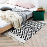 Hand Woven Bohemian Cotton Rug with Tassels - Einhorn Homewares